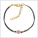 Evil Eye Protection Amulet Magical Powers Gold-Tone Sparkling Snow White Crystals Elegant Cord Bracelet