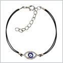 Evil Eye Protection Amulet Magical Powers Silver-Tone Sparkling Snow White Crystals Elegant Cord Bracelet