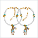 Evil Eye Protection Love Couples Amulets Set Hamsa Hand Simulated Pearls Accent Gold-Tone Charm Bracelets