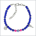 Evil Eye Protection Amulet Royal Blue Pink Accents Sea Horse Magical Power Symbols Lucky Charms Bracelet