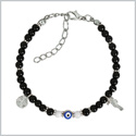 Evil Eye Protection Amulet Royal Black White Accents Sea Horse Magical Power Symbols Lucky Charm Bracelet
