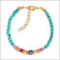 Evil Eye Protection Amulet Simulated Turquoise Colorful Crystal Accents Magic Powers Lucky Charm Bracelet
