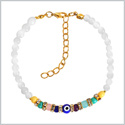 Evil Eye Protection Amulet Snow White and Colorful Crystals Accents Magic Powers Lucky Charm Bracelet