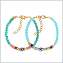 Evil Eye Protection Love Couples Amulets Set Simuled Turquoise Sky Blue Colorful Crystal Accent Bracelets