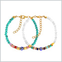 Evil Eye Protection Love Couples Amulets Set Simuled Turquoise White Colorful Crystals Accents Bracelets