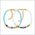 Evil Eye Protection Love Couples Amulets Set Sky Blue and White Colorful Crystals Accents Bracelets