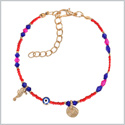 Evil Eye Protection Amulet Blue Pink Red Accents Sea Horse Magical Power Symbols Lucky Charms Bracelet