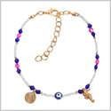 Evil Eye Protection Amulet Blue Pink White Accents Sea Horse Magical Power Symbols Lucky Charms Bracelet