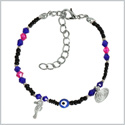 Evil Eye Protection Amulet Blue Pink Black Accents Sea Horse Magical Power Symbols Lucky Charms Bracelet