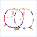 Evil Eye Protection Love Couples Amulets Set Royal Red Blue Pink White Accents Sea Horse Power Bracelets