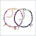 Evil Eye Protection Love Couples Amulets Set Royal Red Blue Pink Black Accents Sea Horse Power Bracelets