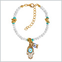 Evil Eye Protection Hamsa Hand Amulet Simulated White Pearl Simulated Turquoise Lucky Charms Bracelet