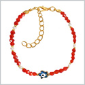 Evil Eye Protection Blue Star Amulet Royal Red White Accents Magic Power Symbol Lucky Charms Bracelet