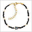 Evil Eye Protection Blue Star Amulet Royal Black White Accents Magic Power Symbol Lucky Charms Bracelet