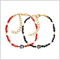 Evil Eye Protection Love Couples Amulets Set Royal Red White Black Blue Accents Lucky Star Bracelets