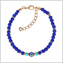 Evil Eye Protection Amulet Simulated Turquoise Royal Blue Accents Magic Power Lucky Charm Bracelet