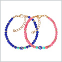 Evil Eye Protection Love Couples Amulets Set Royal Blue Pink Simulated Turquoise Accents Charms Bracelets