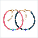 Evil Eye Protection Love Couples Amulets Set Ocean Blue Pink Simulated Turquoise Accents Charm Bracelets