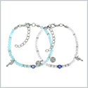 Evil Eye Protection Love Couples Amulets Set Sky Blue and Snow White Accents Sea Horse Power Bracelets