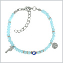 Evil Eye Protection Amulet Royal Sky Blue Accents Sea Horse Magical Power Symbols Lucky Charms Bracelet