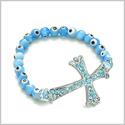 Amulet Evil Eye Protection Magic Cross Charm Spiritual Powers Bracelet with Cute Swarovski Elements and Sky Blue Glass Beads