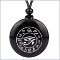 All Seeing and Feeling Eye of Horus Egyptian Amulet Black Agate Magic Gemstone Circle Spiritual Powers Pendant Necklace