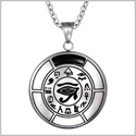 All Seeing and Feeling Eye of Horus Egyptian Magic Amulet Simulated Black Onyx Pendant 22 inch Necklace