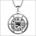 All Seeing and Feeling Eye of Horus Egyptian Amulet White Simulated Cats Eye Pendant 22 inch Necklace