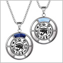 All Seeing Feeling Eye of Horus Love Couples Amulets Set Blue Goldstone Sky Simulated Cats Eye Necklaces