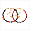 Evil Eye Protection Love Couples Amulets Set Royal Red Black Accents Dragonfly Star Powers Bracelets