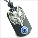 Amulet Wise Wolf Head and Evil Eye Protection Spiritual Powers Blue Eye Black Onyx Pendant Necklace