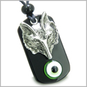 Amulet Wise Wolf Head and Evil Eye Protection Spiritual Powers Lime Green Eye Black Onyx Pendant Necklace