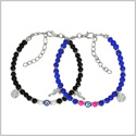 Evil Eye Protection Love Couples Amulets Set Royal Blue Pink and Black Accents Sea Horse Power Bracelets
