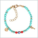 Evil Eye Protection Amulet Simulated Turquoise Red Accents Sea Horse Magical Power Symbol Charms Bracelet
