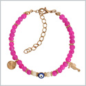 Evil Eye Protection Amulet Royal Pink White Accents Sea Horse Magical Power Symbol Lucky Charms Bracelet