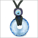 Amulet Individual Small Lucky Donut Faceted Sky Blue Quartz Evil Eye Protection Powers Pendant Necklace