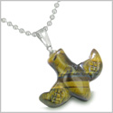 Amulet Lucky Charm Flying Bird Totem in Tiger Eye Gemstone Good Luck and Protection Powers Pendant Stainless Steel 18� Necklace