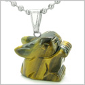 Amulet Lucky Charm Rabbit Totem in Tiger Eye Gemstone Healing Powers Pendant on Stainless Steel 22� Necklace