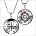 Fortune Wealth and Success Love Couples Amulets Set Simulated Onyx Pink Simulated Cats Eye Necklaces