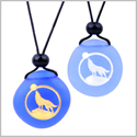Frosted Sea Glass Stones Howling Wolf Moon Love Couples BFF Set Amulets Sky and Royal Blue Necklaces