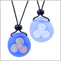 Frosted Sea Glass Stones Spirit of Life Goddess Knot Love Couples BFF Amulets Sky Royal Blue Necklaces