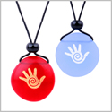 Frosted Sea Glass Stones Buddha Magic Energy Hand Love Couples BFF Set Amulets Sky Blue Red Necklaces