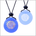 Frosted Sea Glass Stones Positive Magic Energy Sun Love Couples BFF Set Amulets Sky Royal Blue Necklaces