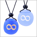 Frosted Sea Glass Stones Infinity Eternity Energy Love Couples BFF Set Amulets Sky Royal Blue Necklaces