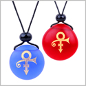 Frosted Sea Glass Stones Ancient Rebirth Symbol Love Couples BFF Set Amulets Royal Blue Red Necklaces