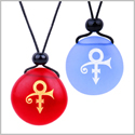 Frosted Sea Glass Stones Ancient Rebirth Symbol Love Couples BFF Set Amulets Sky Blue Red Necklaces