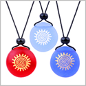 Frosted Sea Glass Stones Positive Magic Energy Sun Best Friends BFF Amulets Royal Sky Blue Red Necklaces