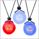 Frosted Sea Glass Stones Magic All Seeing Eye of God Best Friends BFF Amulet Royal Sky Blue Red Necklaces