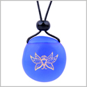 Amulet Frosted Sea Glass Stone Cute Magic Butterfly Good Luck Powers Royal Blue Adjustable Necklace