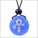 Amulet Frosted Sea Glass Stone Ancient Rebirth Symbol Good Luck Powers Royal Blue Adjustable Necklace